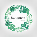Round frame with tropical palm leaves. exotic background with place for text. Royalty Free Stock Images