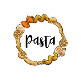 Round frame of uncooked Italian pasta with place for text Royalty Free Stock Photos