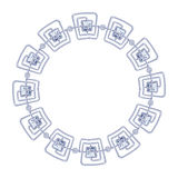 Round frame vector - silver chain on the white Royalty Free Stock Images