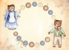 Round frame with vintage bears and buttons, watercolor painting