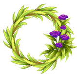 A round frame with violet flowers Stock Photos