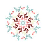 Round frame from vivid colorful butterflies on white background.mandala. circle. Vector illustration royalty free illustration