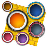 Round frame on the wall. Samples of round frames on a yellow brick wall Royalty Free Stock Images