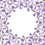 Round frame with watercolor bluebell flowers Stock Photo