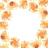 Round frame of watercolor chrysanthemum flowers Stock Photography