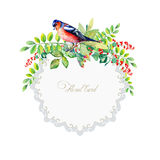 Round frame of watercolor colorful bird and some leaves, berries Stock Photos