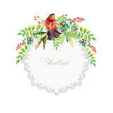 Round frame of watercolor colorful bird and some leaves, berries Royalty Free Stock Photo
