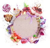 Round frame with watercolor desserts. Royalty Free Stock Photography