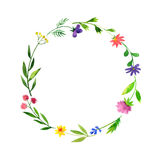 Round frame with watercolor doodle plants and flowers Stock Photo
