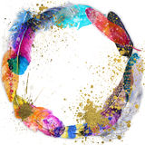 Round frame with watercolor feathers Stock Images