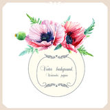 Round frame of watercolor pink poppies. Royalty Free Stock Photos