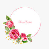 Round frame of watercolor red roses. Stock Images