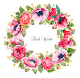 Round frame of watercolor roses, poppies and berries. Royalty Free Stock Images