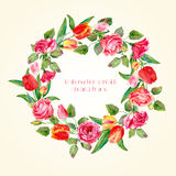 Round frame of watercolor roses and tulips. Royalty Free Stock Photo