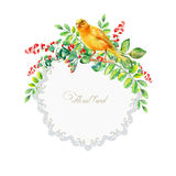 Round frame of watercolor yellow bird and some leaves, berries. Royalty Free Stock Photo