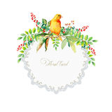 Round frame of watercolor yellow bird and some leaves, berries. Stock Images