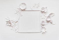 Round frame with white paper flowers Royalty Free Stock Images