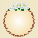 Round frame with white rhododendron vector Stock Photography