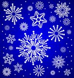 snowflakes. Winter ornament, snowflakes, circular pattern , blue background , white circles , vector illustration Stock Image