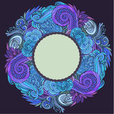 Round frame winter ornate Royalty Free Stock Images