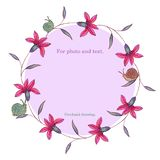 Round frame- wreath of crimson flowers with green leaves and snails. stock illustration