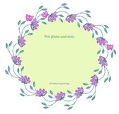 Round frame- wreath of Dahlia twigs with lilac flowers and pink butterflies. stock illustration