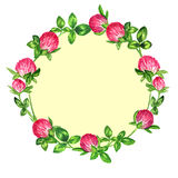Round frame wreath of flowering clover, the design for a card Royalty Free Stock Photos