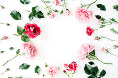 Round frame wreath pattern with roses, pink flower buds, branches and leaves isolated on white background Royalty Free Stock Images