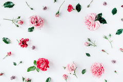 Round frame wreath pattern with roses, pink flower buds, branches and leaves isolated on white background Royalty Free Stock Photography