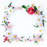 Round frame wreath pattern with roses, pink flower buds, branches and leaves isolated on white background Stock Images