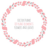 Round frame wreath pink sakura cherry blossoms with ribbon. Round frame wreath of delicate pink sakura cherry blossoms with ribbon - vector illustration for Stock Images