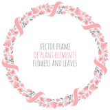 Round frame wreath pink sakura cherry blossoms with ribbon. Round frame wreath of delicate pink sakura cherry blossoms with ribbon - vector illustration for Royalty Free Stock Image