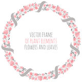 Round frame wreath pink sakura cherry blossoms with ribbon. Round frame wreath of delicate pink sakura cherry blossoms with ribbon - vector illustration for Stock Photos