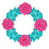 Round frame, wreath of roses with leaves Royalty Free Stock Photo