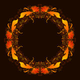 Round frame with yellow and orange leaves Stock Photos