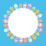 Round frame for your text. Funny happy house set, kawaii face, smile, pink cheeks, big eyes. pastel colors on blue background. Vec Royalty Free Stock Image