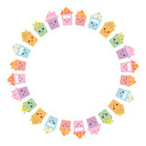 Round frame for your text. Funny happy house set, kawaii face, smile, pink cheeks, big eyes. pastel colors isolated on white backg. Round. Vector illustration Royalty Free Stock Photography