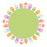 Round frame for your text. Funny happy house set, kawaii face, smile, pink cheeks, big eyes. pastel colors. Vector Stock Images