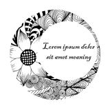 Round frame, zentangle, black and white Royalty Free Stock Images