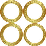 Round frames. Round golden frames with ornaments Stock Photos