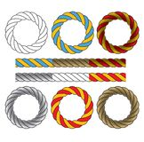 Round frames made of colored twisted cords Royalty Free Stock Images