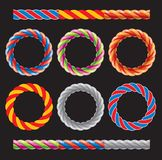 Round frames made of colored twisted cords Stock Images