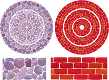 Round frames with Stone and brick Background. Abstract Royalty Free Stock Image