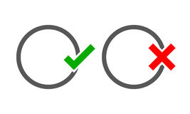The round frames with Yes and No check marks. Vector illustration. Stock Photography