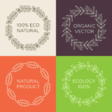 Round framework of leaves with text. Round framework of leaves with text (100% eco natural, organic vector, natural product Stock Photo