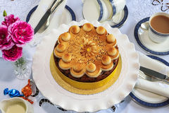 Round fruit cake decorated with marzipan. Royalty Free Stock Photo