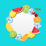 Round Fruit Frame with Ice Cubes, Pineapple, Watermelon, Cherry, Orange, Royalty Free Stock Photo