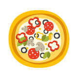 Round Full Pizza With Pepperoni Primitive Cartoon Icon, Part Of Pizza Cafe Series Of Clipart Illustrations Royalty Free Stock Images