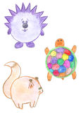 Round funny animals, hedgehog, squirrel, turtle Royalty Free Stock Photo