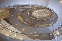 Round futuristic staircase.Mariinsky theatre Mariinsky theatre St. Petersburg, Russia. Modern architecture Opera and ballet theatre in St. Petersburg, one of the Royalty Free Stock Photo